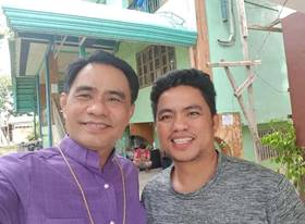 Bishop Rodolfo A. Juan poses with the Rev. Eller Ordeniza, a United Methodist pastor in the Philippines, after Ordeniza was released from jail. The local pastor was among those arrested and detained for two and a half days after trying to rescue tribal children who were fleeing from a village that has been a target of military operations. Photo courtesy of Bishop Rodolfo A. Juan.