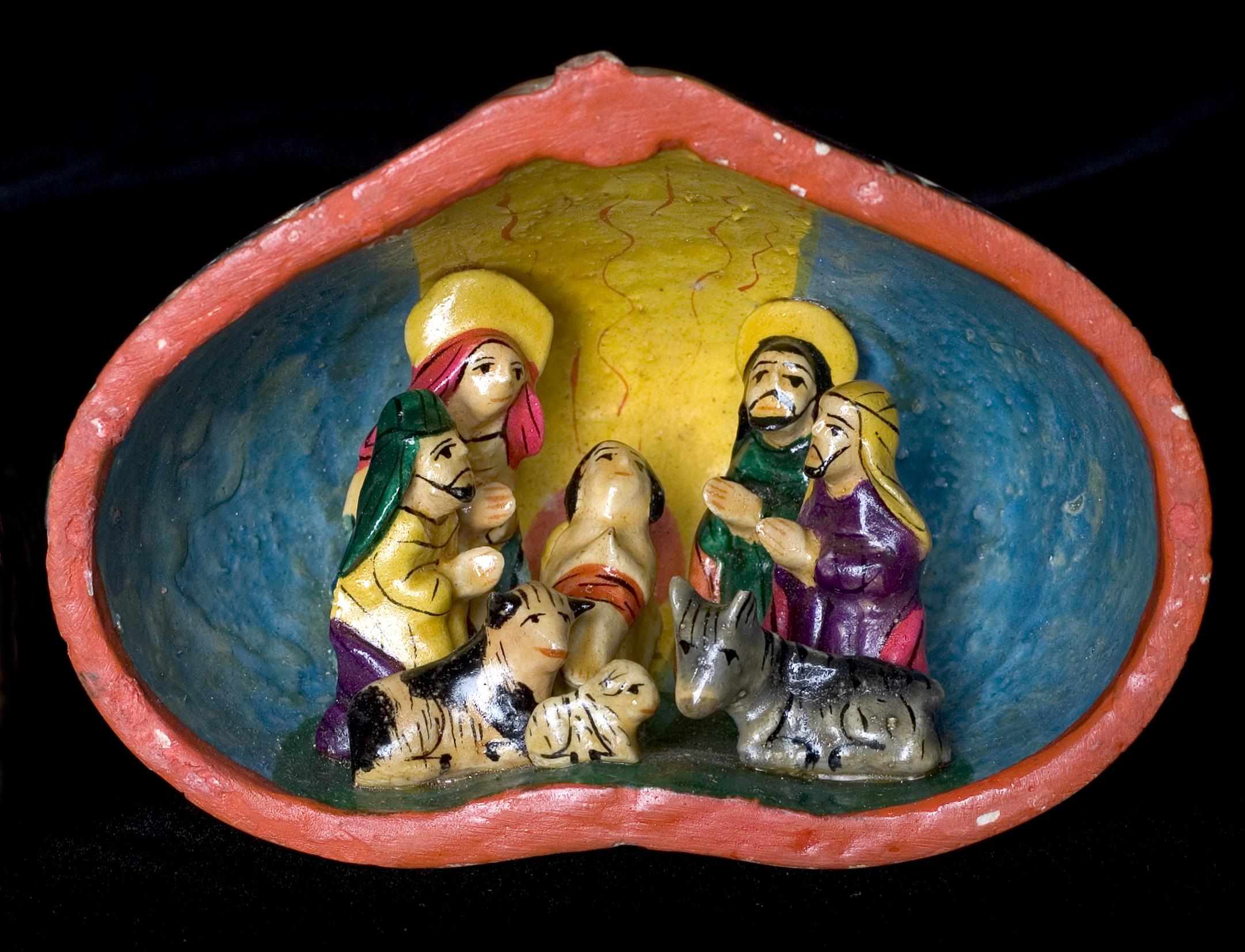 페루에서 제작된 조형물, 예수 탄생, 테네시주 내쉬빌에 소재한 다락방 박물관 소장품.  사진 마이크 듀 보스 (Mike DuBose), UMNS.