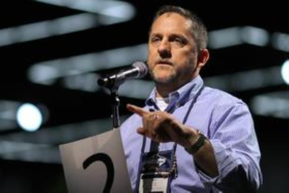 The Rev. Mark Holland, a Kansas clergy delegate to the Special Session General Conference, speaks during the May 12 plenary session of the United Methodist 2016 General Conference in Portland, Oregon. Photo by Maile Bradfield, UMNS.