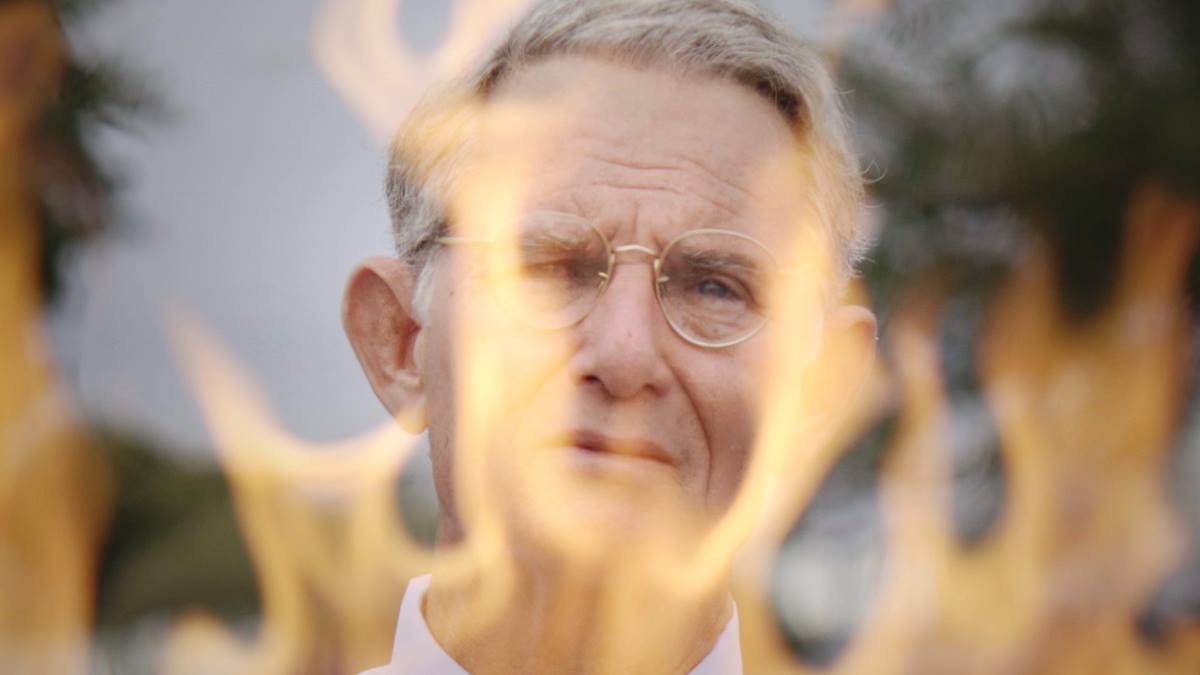 "Ron Blanton plays the Rev. Charles Moore in a re-enactment segment of the new documentary ""Man on Fire."" Moore, a retired United Methodist elder, set himself on fire in a suicidal protest of racism in 2014. Film image courtesy of ""Man on Fire"" film."