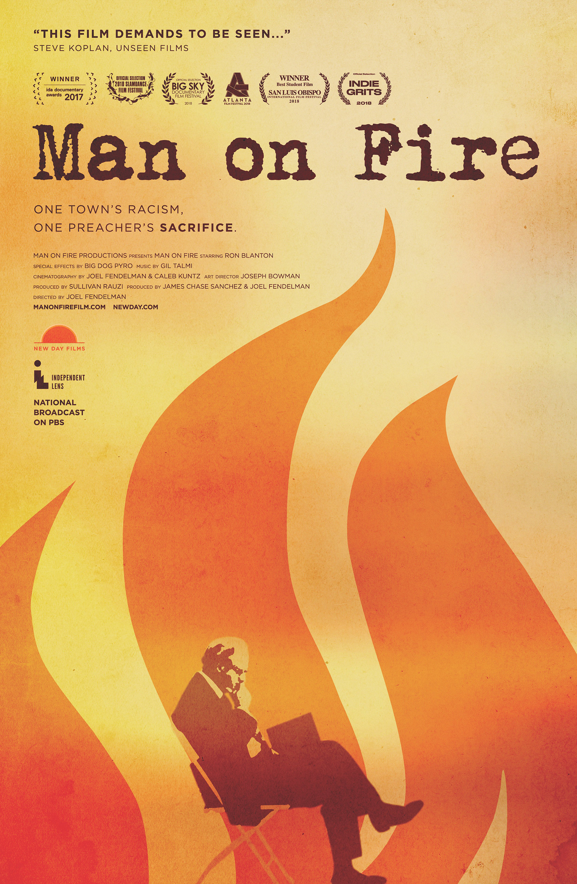 "A poster for ""Man on Fire,"" a documentary that examines the 2014 self-immolation of retired United Methodist clergyman Charles Moore, and its effect on his East Texas hometown. Image courtesy of ""Man on Fire"" film."