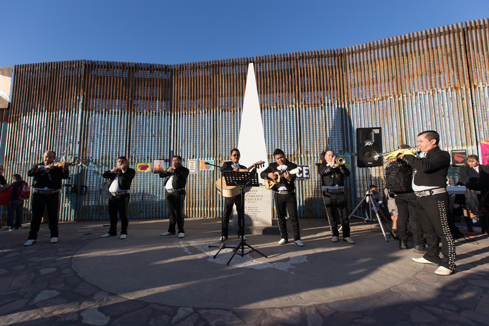 A Mariachi band plays during the Posada celebration at El Faro Park in Tijuana.