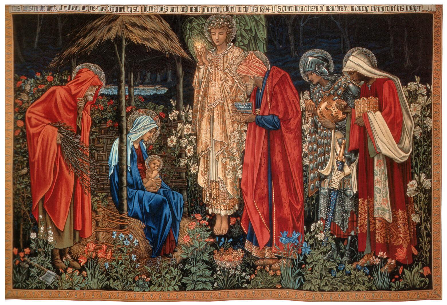 A tapeçaria Adoration of the Magi (Adoração dos Magos) que data de 1894 da Universidade Metropolitana de Manchester, Inglaterra.Imagem cortesia de Wikimedia Commons.