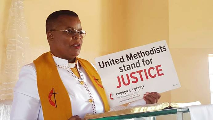 The Rev. Juliet Chirowa speaks at Sunningdale United Methodist Church in Harare, Zimbabwe. She said the church should influence policy by standing up for justice including comprehensive care for victims of human trafficking. Photo by Priscilla Muzerengwa, UMNS.