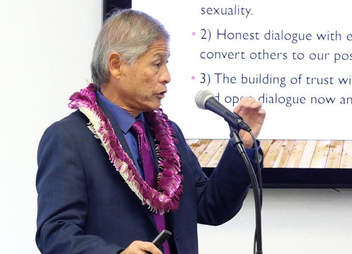 """Bishop Grant Hagiya of Cal-Pacific Conference explains the three plans submitted by the Commission on Way Forward at the pacific islanders' gathering at the School of Theology at Claremont, CA on Dec 10-11 to have a serious conversation on the """"Hard Conversation on Human Sexuality and a Divided UMC."""" Photo by Thomas Kim, UMNS."""