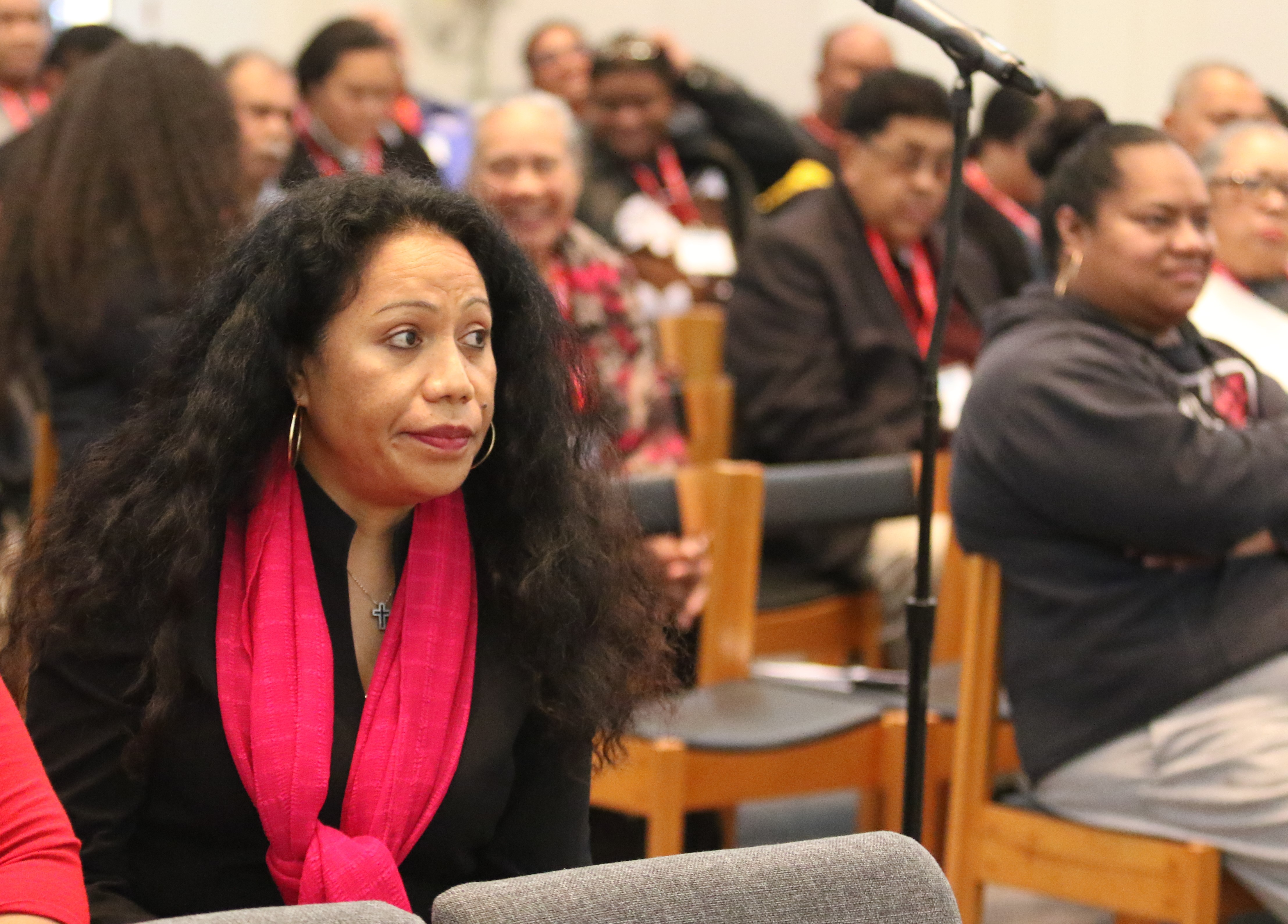 Mele Maka, a member of Moorpark United Methodist Church and a lay delegate of the Cal-Pac Conference to the General Conference pays attention to a presentation at the Pacific Islander Gathering held from December 9-11, 2018 in Claremont Seminary, CA. Photo by Thomas Kim, UMNS.