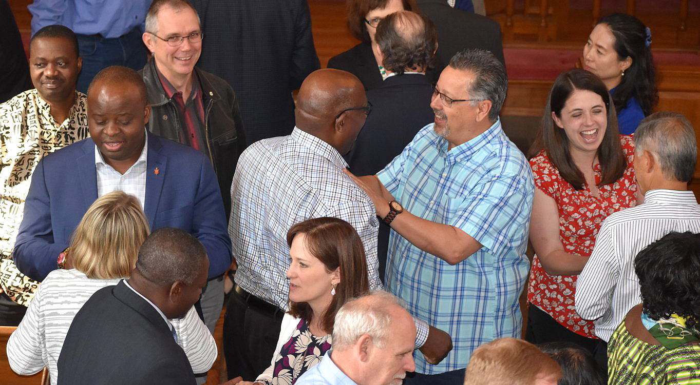 Members of the Commission on a Way Forward converse as they complete their final commission meeting on May 23, 2018, at the Upper Room chapel in Nashville, Tenn. Photo courtesy of Maidstone Mulenga, Council of Bishops.