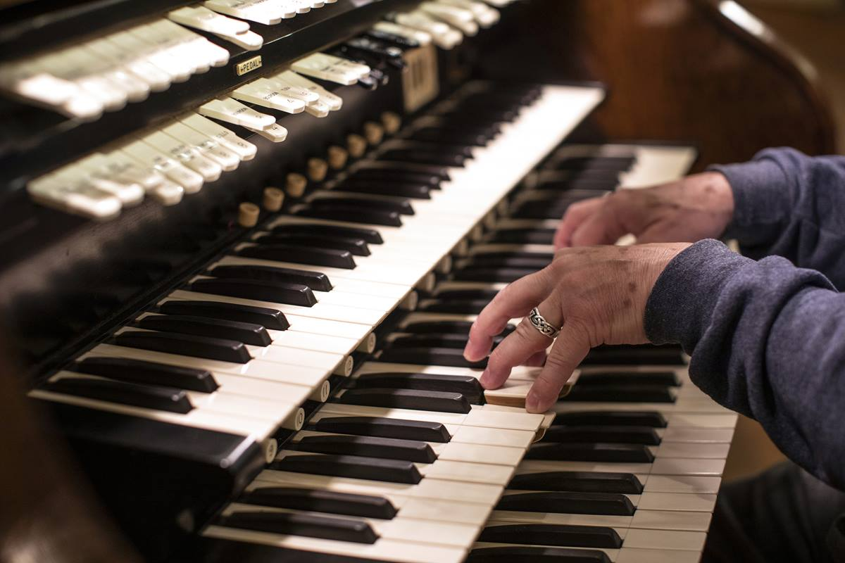 Scott Mills demonstrates the power of the restored pipe organ at First United Methodist Church in Salt Lake City.