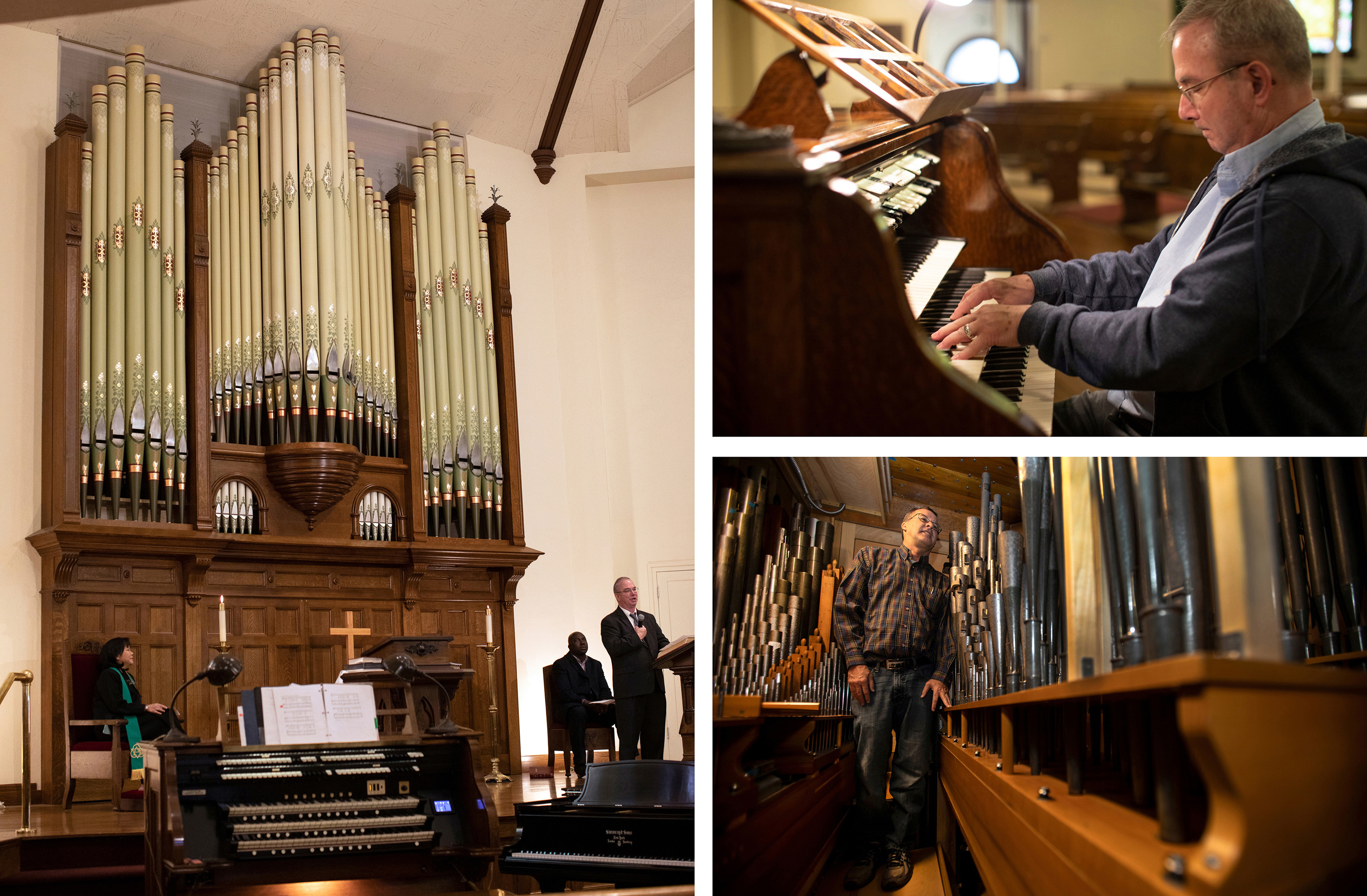 """(Clockwise from left) Music director, Scott Mills, speaks from altar in front of the renovated Bigelow Organ Opus 38, a 43-rank pipe organ. Mills enjoys playing the organ on a Saturday. Historian, Mike Green, gives a """"behind the scene"""" glimpse of the range of pipes not seen sanctuary."""