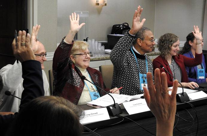 The Committee on Reference manages to retain a sense of humor while undertaking the challenge of deciding which petitions can be considered by the special session of the General Conference of The United Methodist Church. The panel met Jan. 11-12 near Dallas. Photo by Sam Hodges, UMNS.