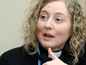 "The Rev. Katie Dawson was among the committee on reference members meeting Jan. 11-12 near Dallas to decide which petitions are ""in harmony"" with the stated call of the upcoming special General Conference of The United Methodist Church. Photo by Sam Hodges, UMNS."