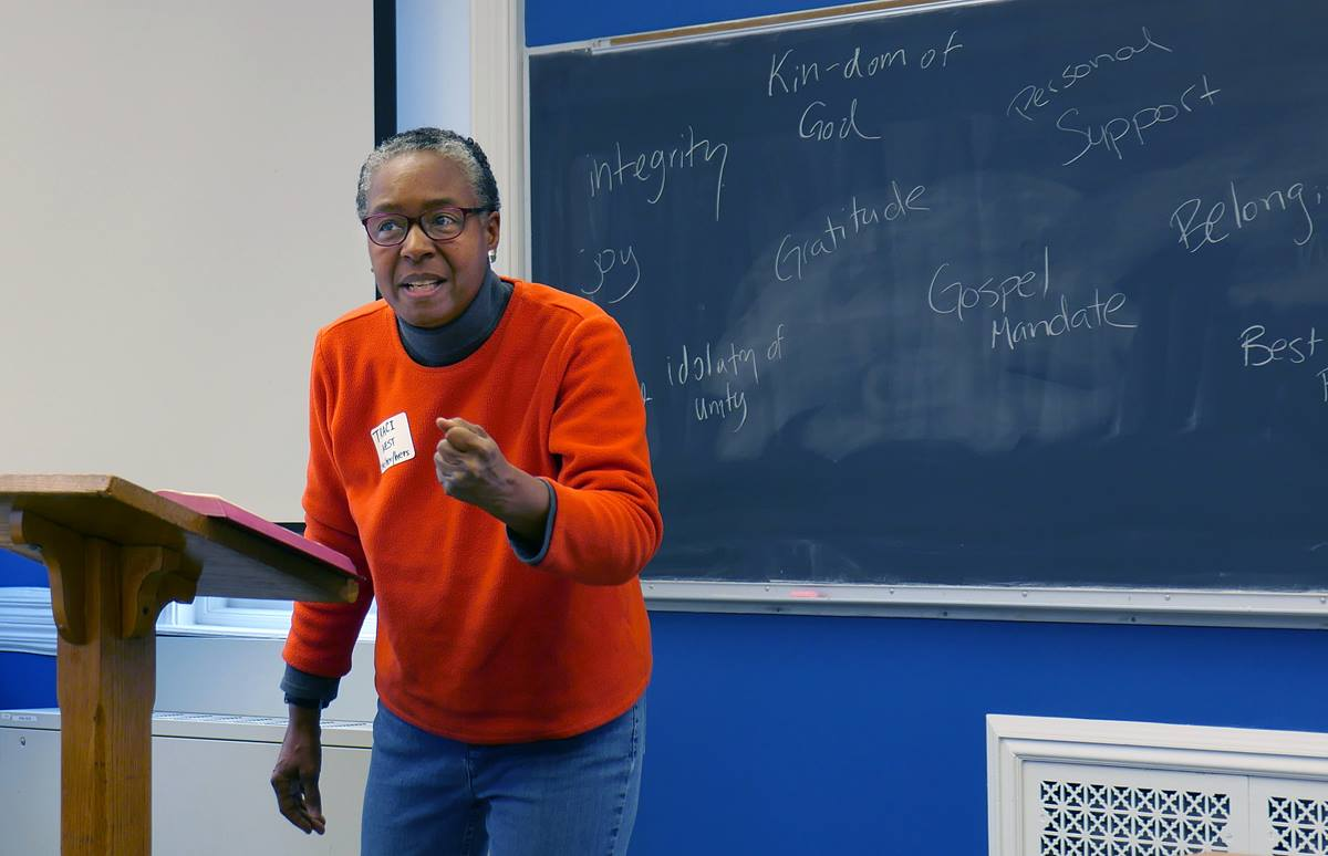 The Rev. Traci C. West speaks about why the Simple Plan matters during a meeting hosted by Drew University Theological School in Madison, N.J. West is a professor of ethics and African-American studies at Drew. Photo by Heather Hahn, UMNS.