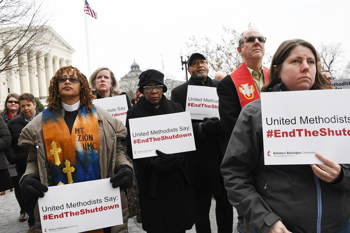 Faith leaders from around Washington, D.C., stood in the cold Thursday afternoon, Jan. 17, calling for lawmakers and President Donald Trump to end the almost four-week government shutdown. Photo by Melissa Lauber, Baltimore-Washington Conference.