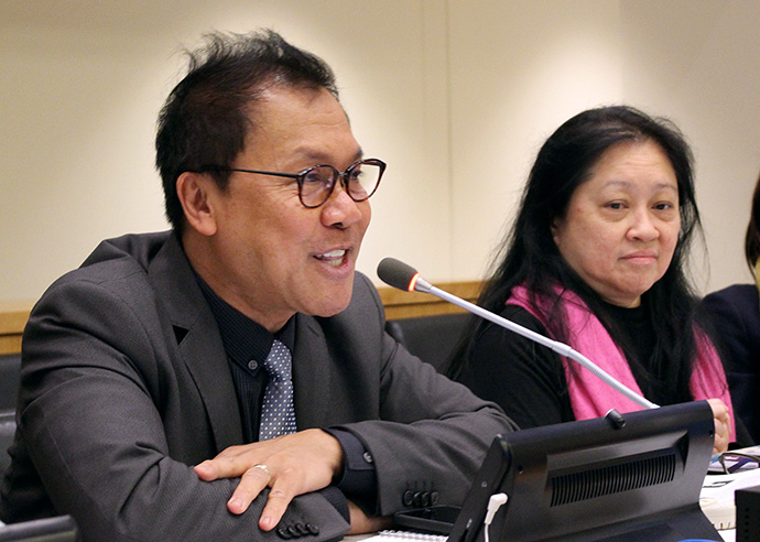 """United Methodists speaking during the Fifth Annual Symposium on the Role of Religion and Faith-Based Organizations in International Affairs at the U.N. included the Rev. Liberato """"Levi"""" Bautista, left, a Board of Church and Society executive, and Lidy Nacpil of the Philippines. Photo by Marcelo Schneider, WCC."""