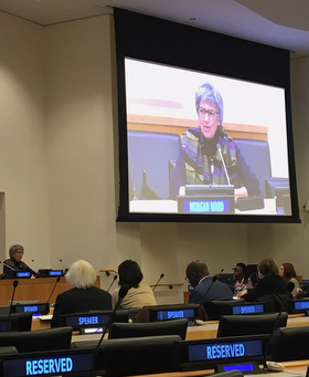 United Methodist Bishop Hope Morgan Ward (far left and on screen) was part of a panel presentation during a daylong symposium on the role of religion and faith-based organizations in international affairs at the United Nations. Photo by Linda Bloom, UMNS.