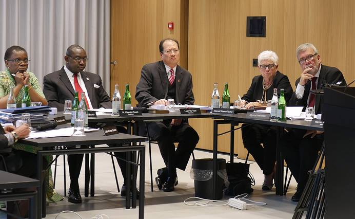 The United Methodist Judicial Council listens during an oral hearing on Way Forward Commission plans. Proponents have recommended changes to bring plans in line with the court's ruling. File photo by Diane Degnan, UMCom.