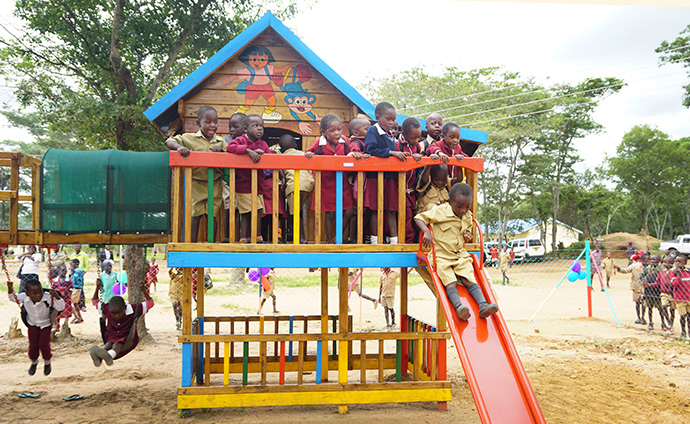 Children enjoy the new playground at a dedication ceremony Feb. 8 at Hanwa Mission School in Macheke, Zimbabwe. Photo by Kudzai Chingwe, UMNS.