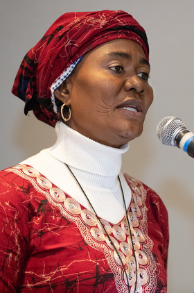 The Rev. Eunice Iliya, a hospital chaplain and General Conference delegate from Nigeria, speaks during a rally for the One Church Plan held Feb. 23 at the Hyatt Regency St. Louis at the Arch. Photo by Mike DuBose, UMNS.