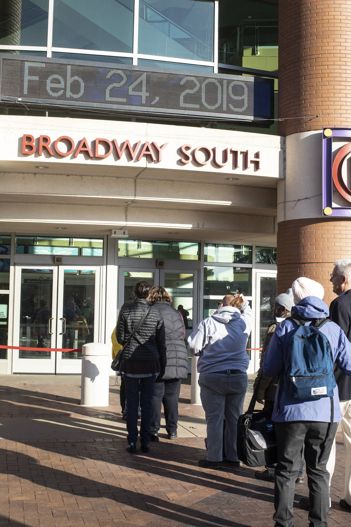 Observers and others stand in line early on Feb. 24, awaiting a security check that will allow them into St. Louis' America's Center for a session of the 2019 General Conference. Some 3,000 observers had registered by late Feb. 23. Photo by Kathleen Barry, UMNS.