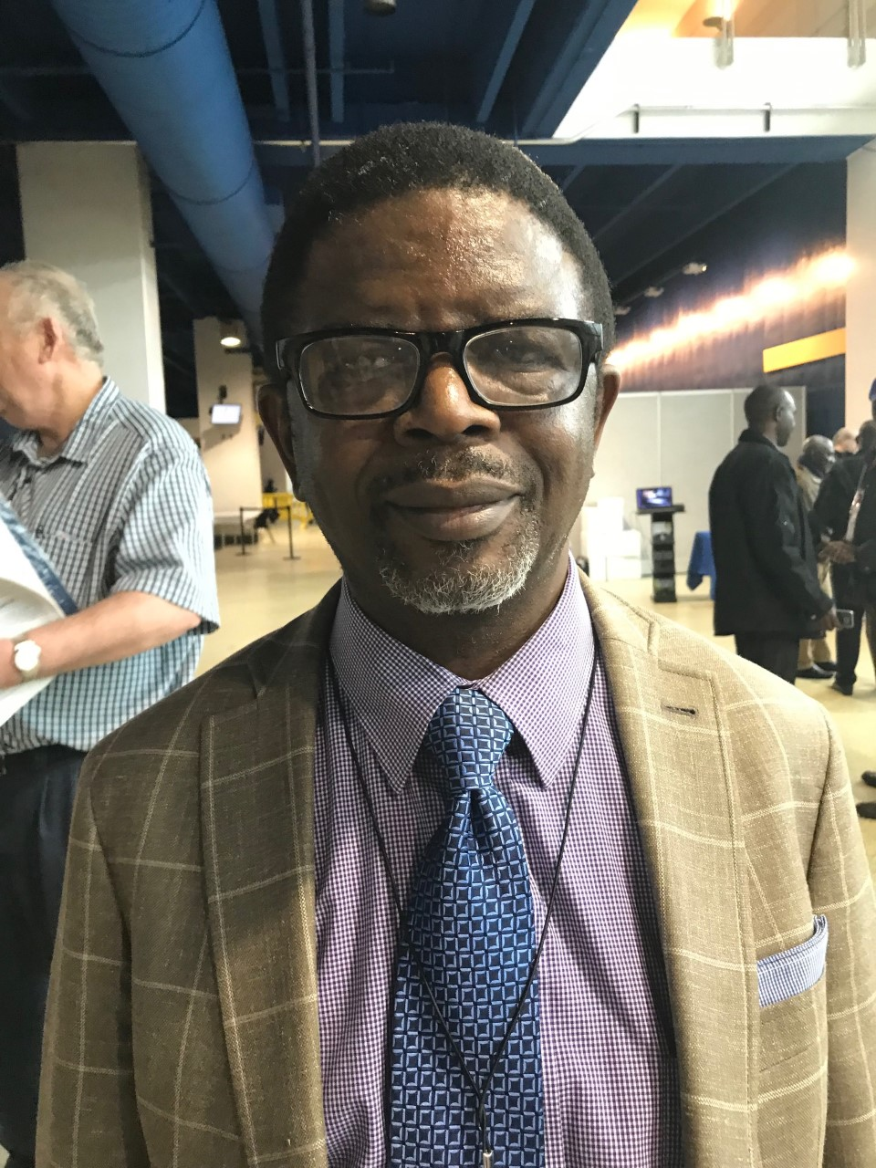The Rev. Jacob Maforo drove nine hours from his home near the Kansas-Oklahoma border to be an observer at the 2019 General Conference. Some 3,000 observers have registered for the special legislative session, underway through Feb. 26 at the America's Center in St. Louis. Photo by Sam Hodges, UMNS.