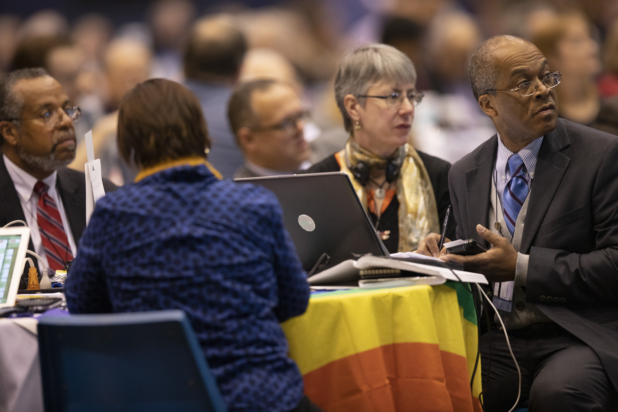 Delegates listen and prepare to vote from the floor Feb.   25 during the 2019 United Methodist General Conference   inside the Dome at America's Center in St. Louis. Photo   by Kathleen Barry, UMNS.