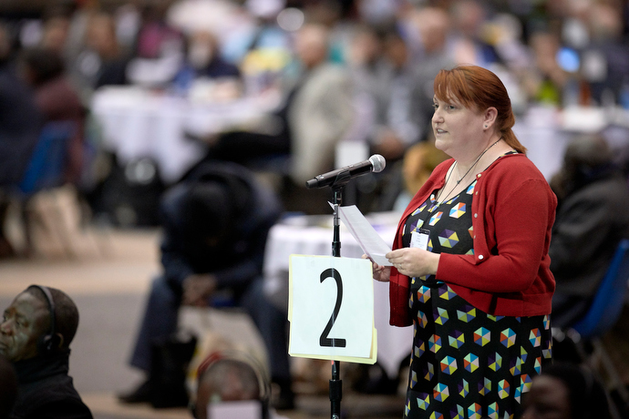 "Aislinn Deviney, a delegate from the Rio Texas Conference, speaks during the debate on a vote to strengthen denominational policies about homosexuality. Deviney, who described herself as a young evangelical, said many young people ""fiercely believe marriage is between one man and one woman."" Photo by Paul Jeffrey, UMNS."