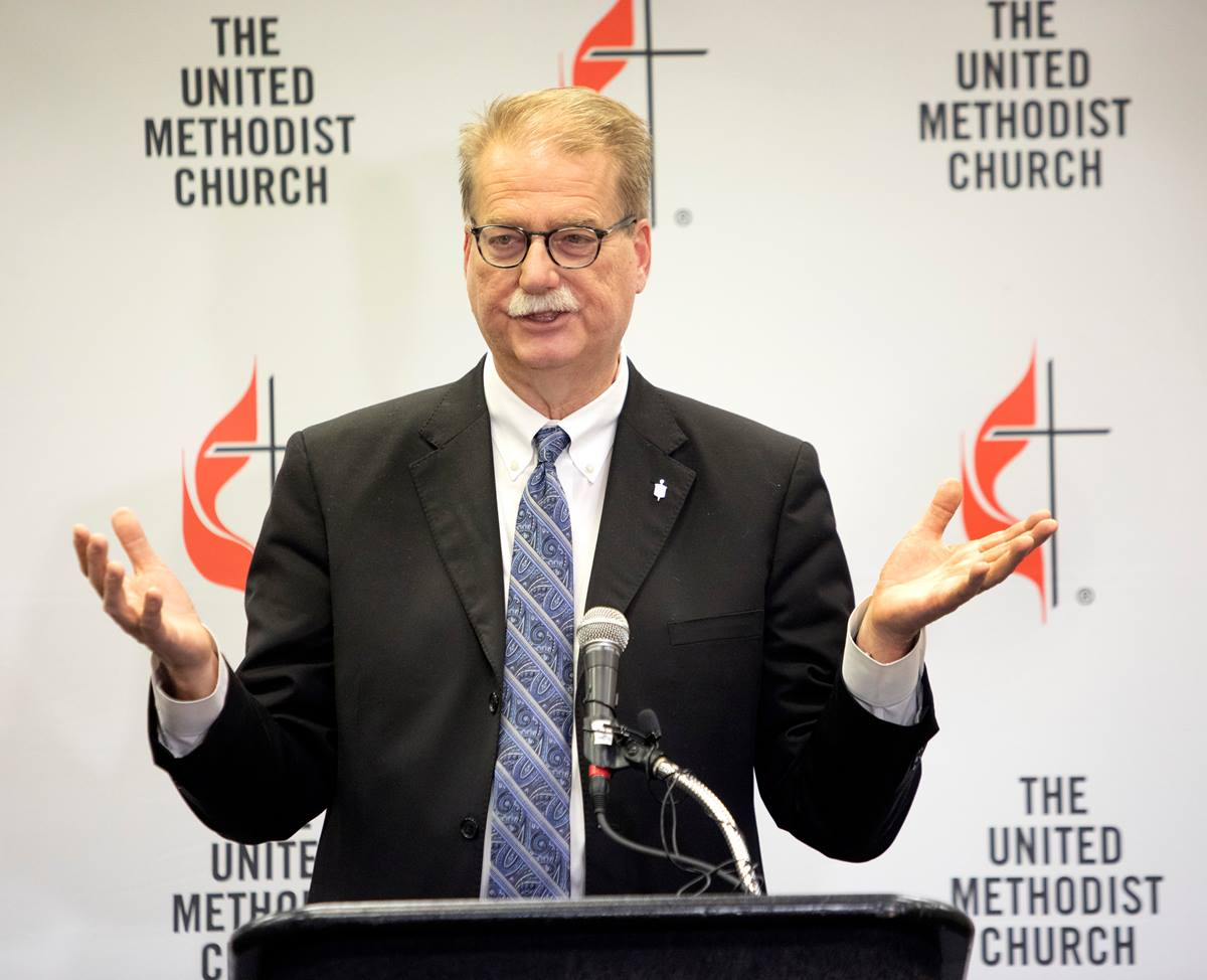 """Bishop Kenneth H. Carter speaks to the news media after adjournment of the 2019 General Conference in St. Louis. In a March 1 webinar for the Florida Conference, Carter said, 'Our interest is in the healing of the church.' Photo by Kathleen Barry, UMNS."""
