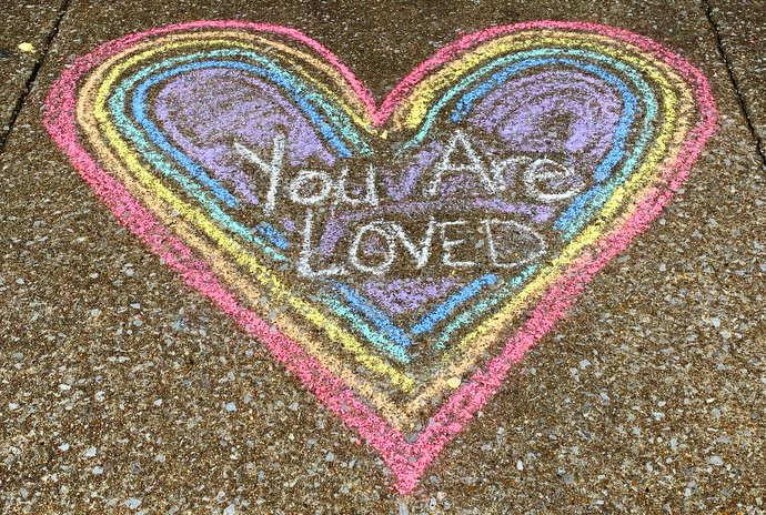 A message of love adorns the sidewalk outside Belmont United Methodist Church, a Reconciling Church in Nashville, Tenn. Leaders, members and volunteers drew messages of welcome and encouragement after the 2019 United Methodist General Conference voted to retain and strengthen the denomination's restrictions against ordination of gay clergy and same-sex unions. Photo by Susan Fagan, Belmont United Methodist Church.