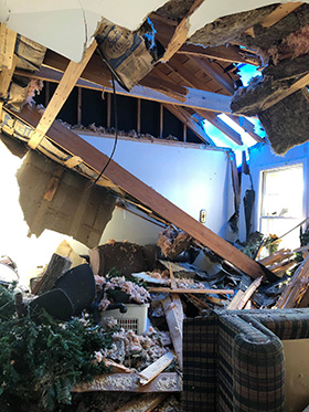 The youth building at Cairo United Methodist Church in Cairo, Ga., was badly damaged by a March 3 tornado. Photo courtesy Cairo United Methodist Church.
