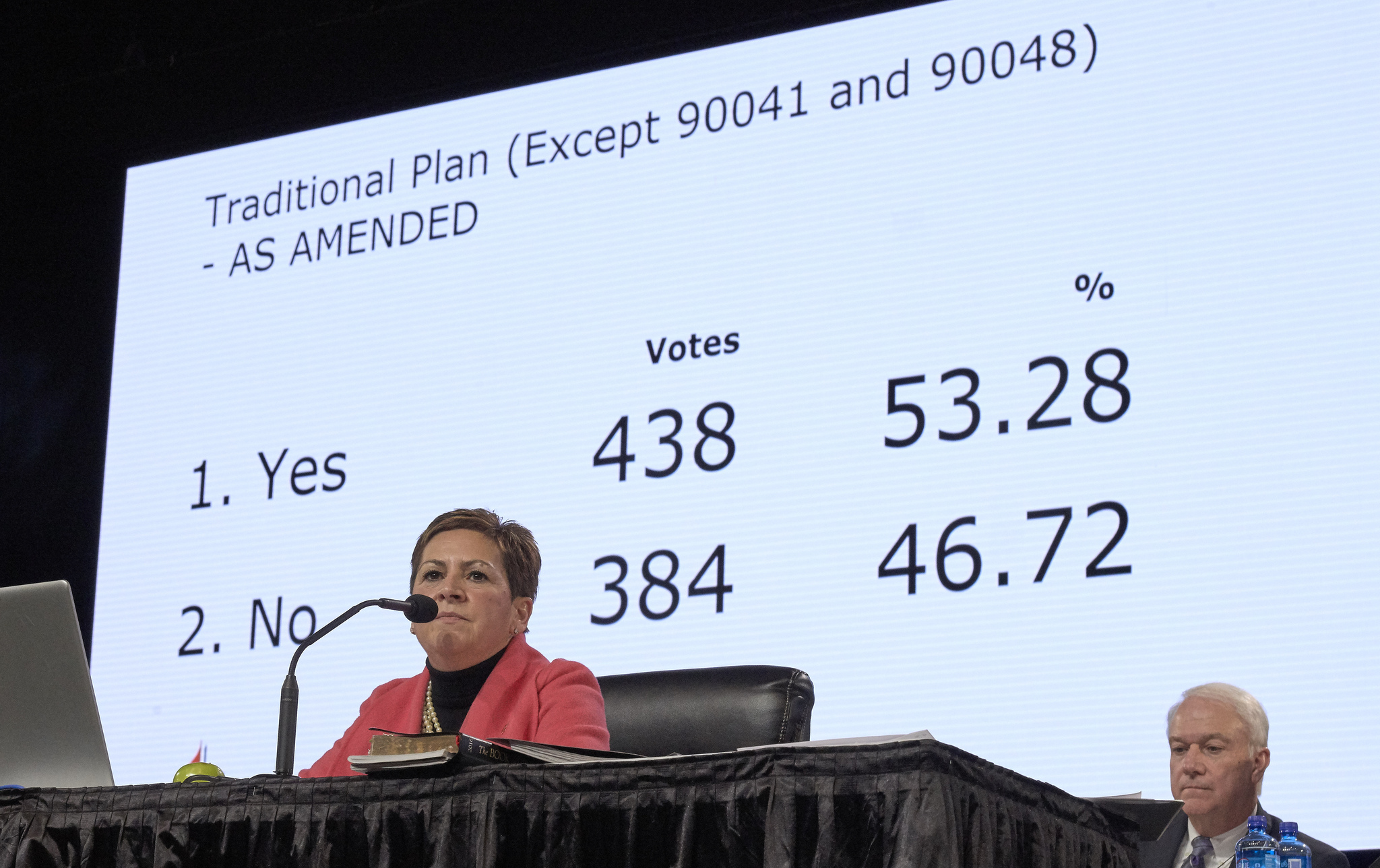Bishop Cynthia Fierro Harvey observes the results from a Feb. 26 vote for the Traditional Plan, which affirms the church's current bans on ordaining LGBTQ clergy and officiating at or hosting same-sex weddings. Photo by Paul Jeffrey, UMNS.
