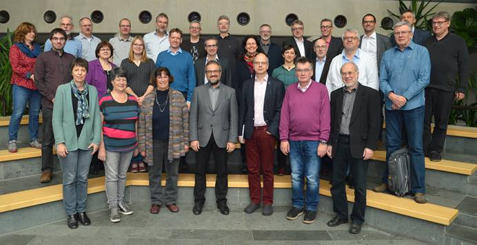 "The executive committee of the United Methodist Church in Germany gathers for a photo during its meeting in Fulda. The committee released a statement saying ""the stipulations of the Traditional Plan are not acceptable for our church in Germany."" Photo by Klaus Ulrich Ruof."