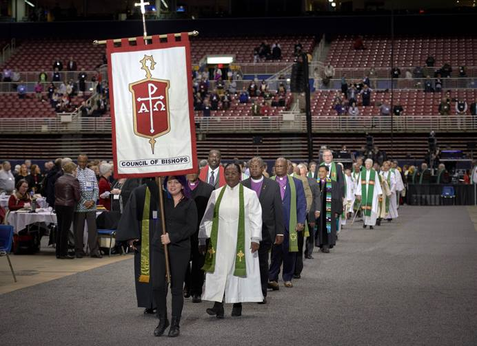 Bishops process into worship on Feb. 24, 2019, at the special session of the General Conference of The United Methodist Church, held in St. Louis, Missouri. Photo by Paul Jeffrey, UMNS