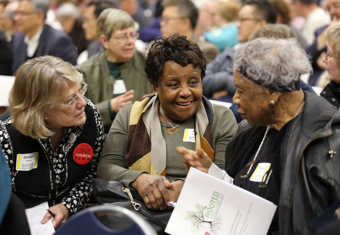 Members of the Greater New Jersey Conference meet in small groups during a special session of their annual conference at Brookdale Community College in Lincroft, N.J. Photo by Corbin Payne.