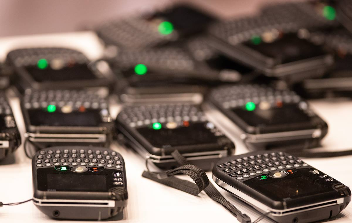 Spare voting machines rest on a table at the 2019 United Methodist General Conference in St. Louis. Some in the church are calling for an independent investigation into voting irregularities during the conference. Photo by Mike DuBose, UMNS.