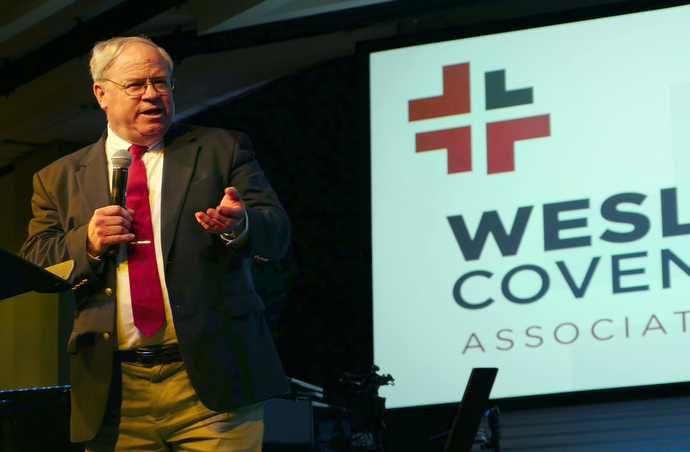 The Rev. Keith Boyette discusses Judicial Council rulings and challenges facing The United Methodist Church during the April 2017 gathering of the Wesleyan Covenant Association in Memphis, Tenn. File photo by Tim Tanton, UMNS.