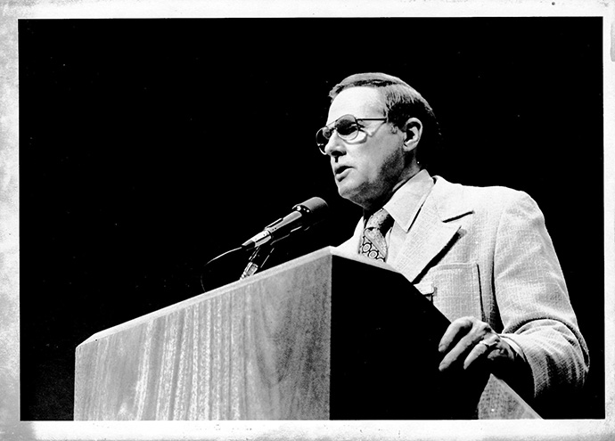 Bishop C. Dale White speaks at the 1980 United Methodist General Conference in Indianapolis. File photo courtesy of the United Methodist Archives and History.