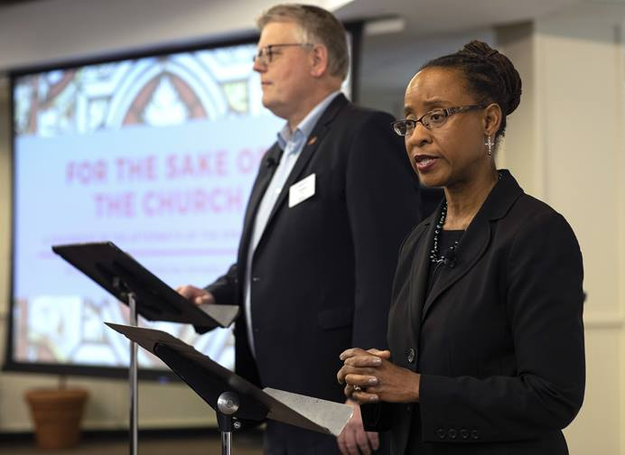 Bishop Christian Alsted and The Rev. Kennetha Bigham-Tsai direct the Connectional Table's discussion about the special session of General Conference, held at Discipleship Ministries in Nashville, Tenn., April 3. Photo by Kathleen Barry, UMNS.