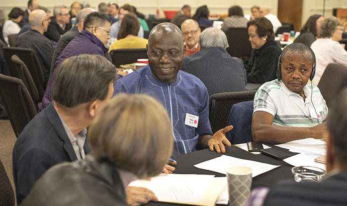 Mike Dio Jen, West Africa Central Conference, shares conversation about stewardship of resources during the Connectional Table meeting held at Discipleship Ministries in Nashville, Tenn., April 3. Photo by Kathleen Barry, UMNS.