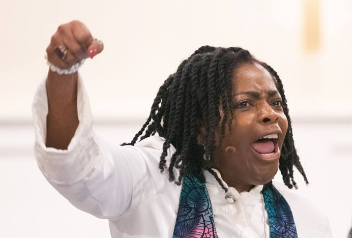 """Bishop Cynthia Moore-Koikoi urges members and guests of Black Methodists for Church Renewal to """"stay woke"""" during her sermon at Ben Hill United Methodist Church in Atlanta. """"Stay woke"""" is a call to be aware of racial and social justice issues and is closely associated with the Black Lives Matter movement."""