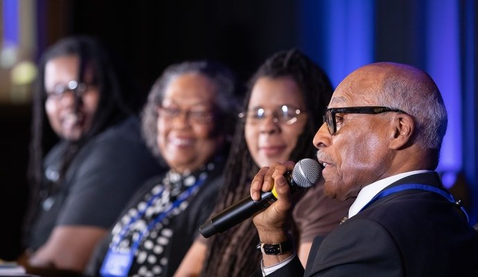 "The Rev. Zan Holmes (right) joins other panelists in a discussion entitled ""Voices of BMCR: Then, Now and Future."" From right are: Holmes, Linda Furtado, Mollie Stewart and Brennen Boose. Photo by Mike DuBose, UMNS."
