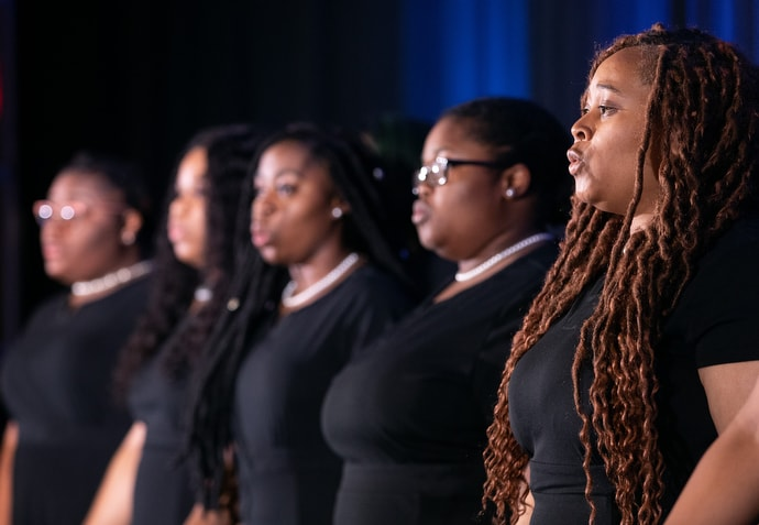 Members of the Bennett College Choir sing during a luncheon to benefit the United Methodist Black College Fund. Photo by Mike DuBose, UMNS.