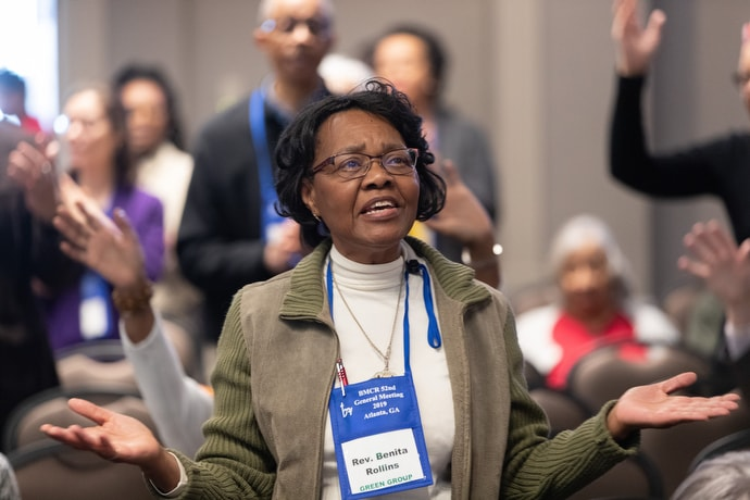 The Rev. Benita Rollins sings during opening worship at the Black Methodists for Church Renewal meeting. Photo by Mike DuBose, UMNS.