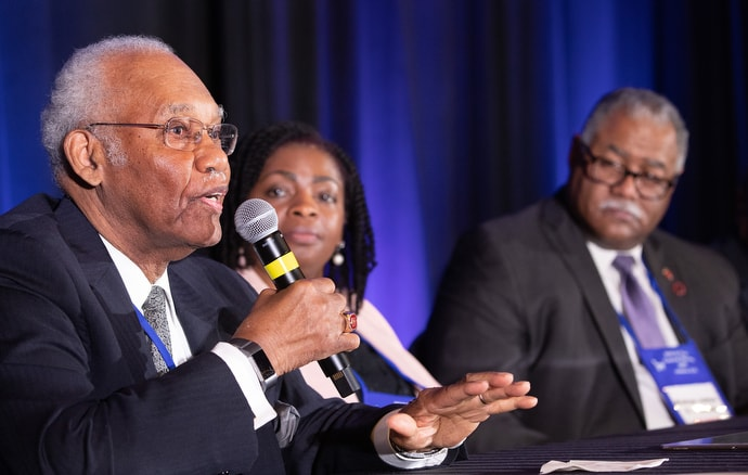 Bishop Charles Wesley Jordan (left) takes part in a panel discussion about General Conference  2019. He is joined by Bishops Cynthia Moore-Koikoi (center) and Julius C. Trimble. Photo by Mike DuBose, UMNS.
