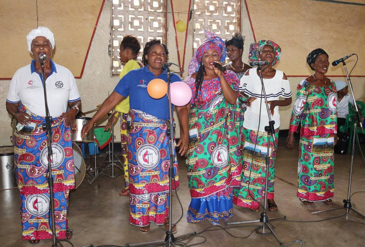 Women from the Tabita Group in the Uvira district of the East Congo use song to raise awareness about the need for local church donations to support a program that helps widows and orphans. Photo by Philippe Kituka Lolonga, UMNS.