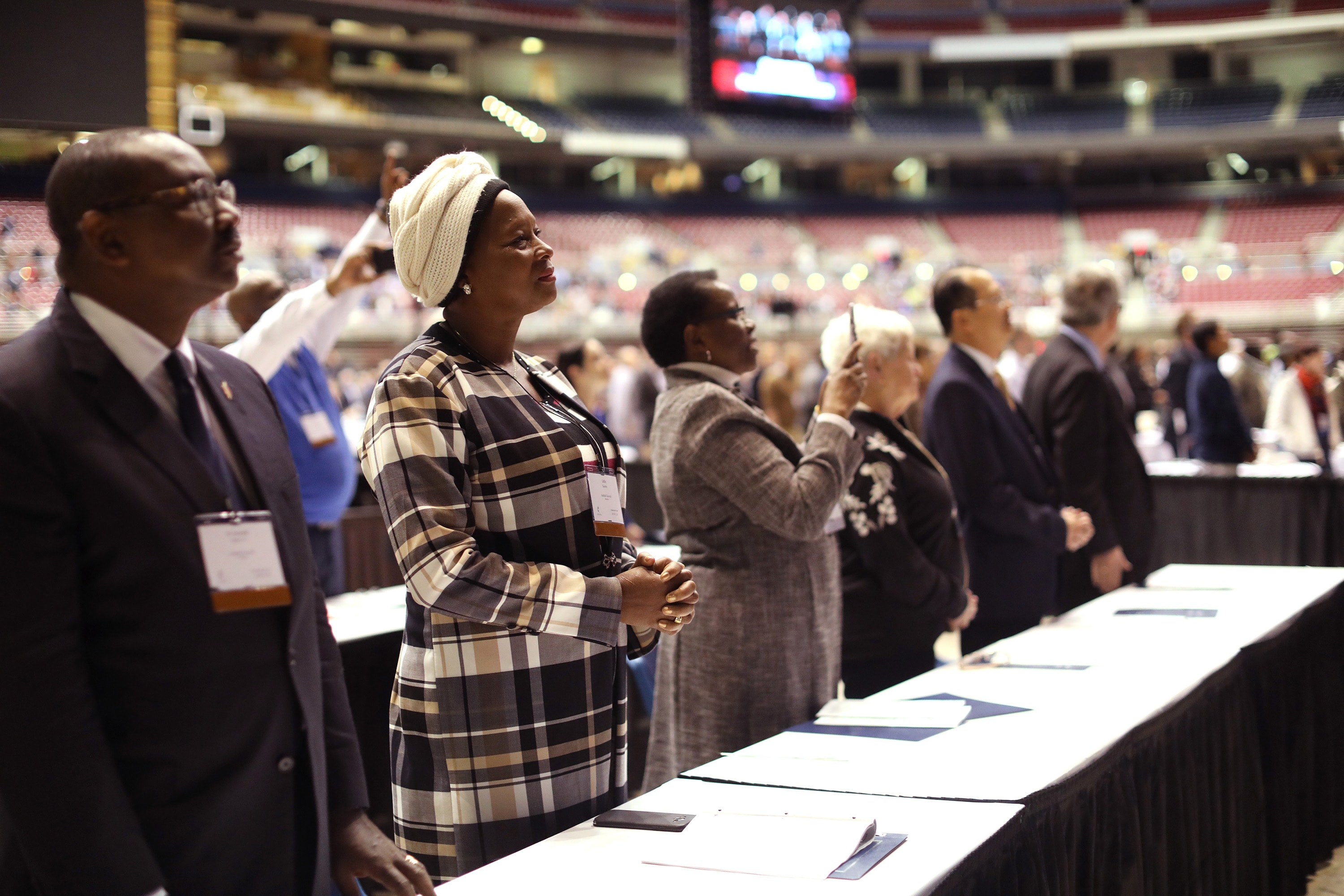 Members of the Judicial Council participate in the Feb. 23 morning of prayer at the 2019 Special Session of the United Methodist General Conference in St. Louis. File photo by Kathleen Barry, UMNS.
