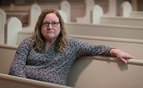 """The Rev. Paula Napier lost her 32-year-old son, Lincoln Nutter, to a drug overdose in June 2018. Napier, who pastors Canaan United Methodist Church in Charleston, W.Va., says she lives in the midst of the opioid crisis. """"I think people need to know it hits everybody,"""" she said. Photo by Mike DuBose, UMNS."""