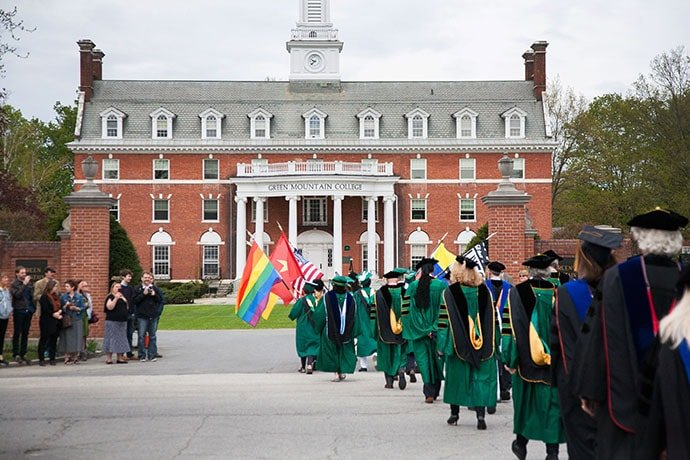 Students and faculty process during commencement at Green Mountain College in Poultney, Vt. Photo courtesy of Green Mountain College.
