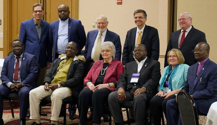 Leaders of the Reform and Renewal Coalition, a group of unofficial traditionalist advocacy groups, pose with bishops from Africa and Europe, after a closed-door meeting in which the leaders and central conference bishops discussed the denomination's situation and possible future. Photo by Heather Hahn, UMNS.