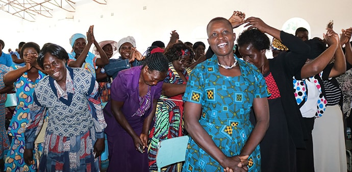 """Women from the Marage District in Zimbabwe celebrate new opportunities at a business expo hosted by The United Methodist Church. The theme of the event was """"Evangelizing Through Economic Empowerment."""" Photo by Priscilla Muzerengwa, UMNS."""