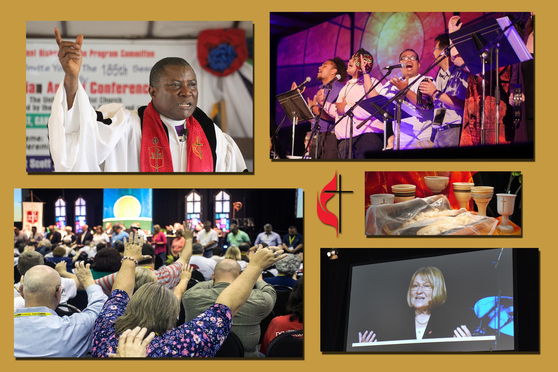 De izquierda a derecho: Obispo Samuel J. Quire Jr., Conferencia Anual de Liberia de 2018, foto por E Julu Swen; Equipo de adoración en la Conferencia Anual California-Nevada de 2015, foto por Koua Vang; Cálices y pan en la Conferencia Anual de Dakotas de 2015, foto cortesía de la conferencia; Obispa Rosemarie Wenner, Conferencia Anual del Sur de Alemania de 2015, foto por Klaus Ulrich Ruof; Asistentes a la Conferencia Anual de Kentucky de 2017, foto por Kathleen Barry.